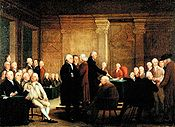 Continental Congress voting on Independence