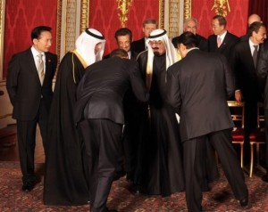 Obama bowing to Saudi King